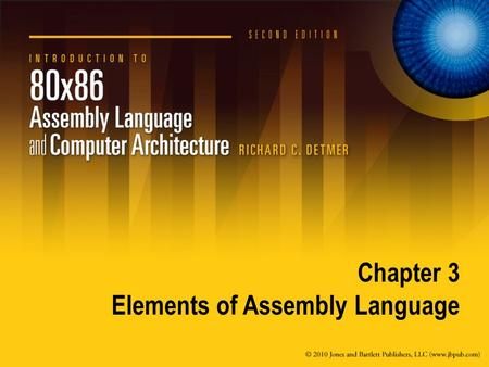 Chapter 3 Elements of Assembly Language. 3.1 Assembly Language Statements.