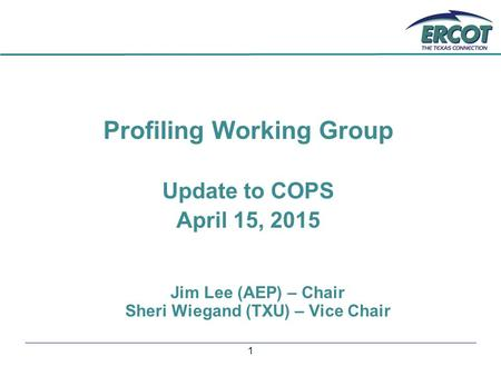 1 Profiling Working Group Update to COPS April 15, 2015 Jim Lee (AEP) – Chair Sheri Wiegand (TXU) – Vice Chair.