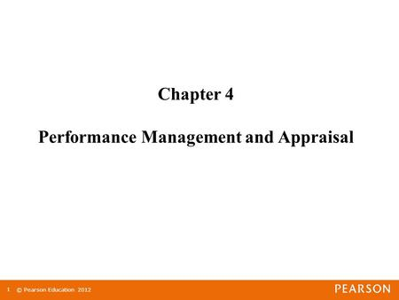 Chapter 4 Performance Management and Appraisal