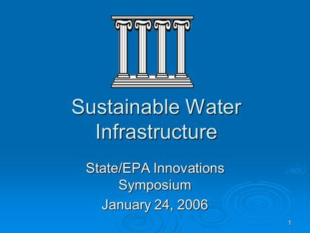 1 Sustainable Water Infrastructure State/EPA Innovations Symposium January 24, 2006.