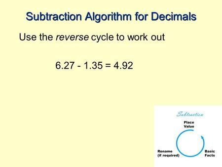 Subtraction Algorithm for Decimals Use the reverse cycle to work out 6.27 - 1.35 = 4.92.