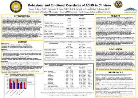 Behavioral and Emotional Correlates of ADHD in Children Tammy D. Barry, Ph.D. 1, Christopher T. Barry, Ph.D. 1, Beth H. Garland, M.A. 2, and Robert D.