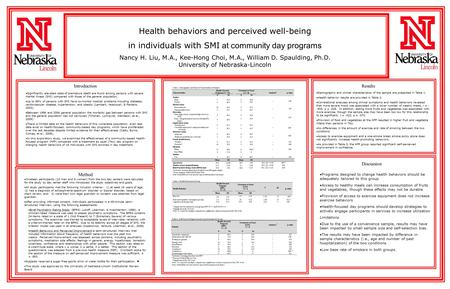 Method IntroductionResults Discussion Health behaviors and perceived well-being in individuals with SMI at community day programs Nancy H. Liu, M.A., Kee-Hong.