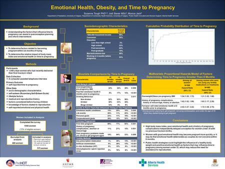 Emotional Health, Obesity, and Time to Pregnancy Suzanne Tough PhD 1,2, Jodi Siever MSc 3, Monica Jack 3 1 Department of Paediatrics, University of Calgary,