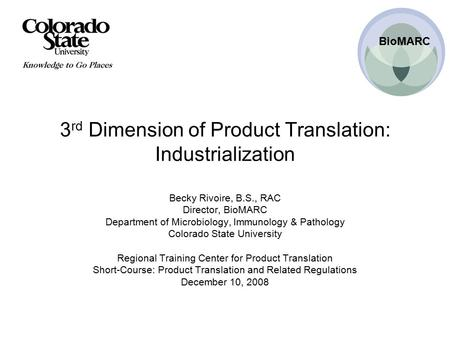 3rd Dimension of Product Translation: Industrialization