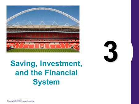 Copyright © 2010 Cengage Learning 3 Saving, Investment, and the Financial System.