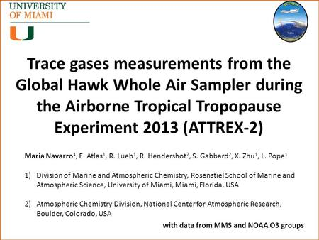 Trace gases measurements from the Global Hawk Whole Air Sampler during the Airborne Tropical Tropopause Experiment 2013 (ATTREX-2) Maria Navarro 1, E.
