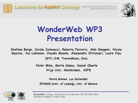 WonderWeb. Ontology Infrastructure for the Semantic Web. IST-2001-33052 2nd Review Meeting, 11 March, 2003. WonderWeb WP3 Presentation Stefano Borgo, Carola.