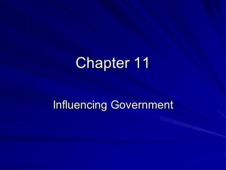 Chapter 11 Influencing Government. Influences on Personal Opinion 1) Personal background Age, gender, race, religion, occupation, hometown, education,