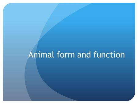 Animal form and function. Common problems All cells need aqueous environment Gas exchange Nourishment Excrete waste Move.