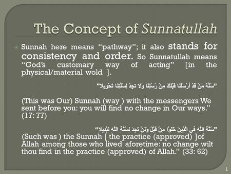 " Sunnah here means ""pathway""; it also stands for consistency and order. So Sunnatullah means ""God's customary way of acting"" [in the physical/material."