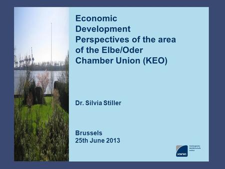 Economic Development Perspectives of the area of the Elbe/Oder Chamber Union (KEO) Dr. Silvia Stiller Brussels 25th June 2013.