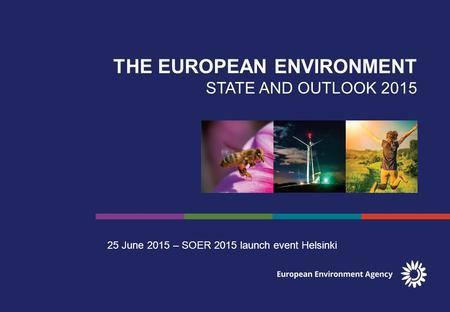 THE EUROPEAN ENVIRONMENT STATE AND OUTLOOK 2015 25 June 2015 – SOER 2015 launch event Helsinki.