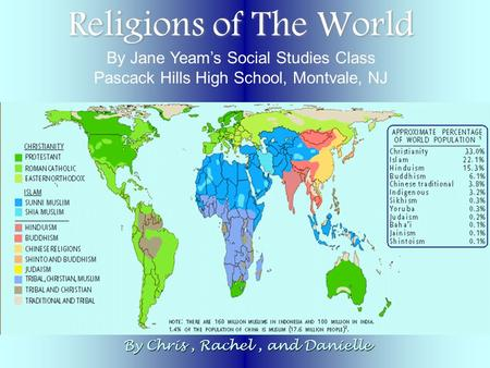 Religions of The World By Chris, Rachel, and Danielle By Jane Yeam's Social Studies Class Pascack Hills High School, Montvale, NJ.