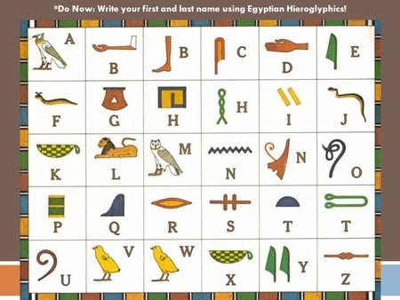 ` *Do Now: Write your first and last name using Egyptian Hieroglyphics!