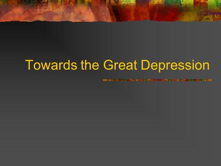 Towards the Great Depression. Name several financial crises in European History.