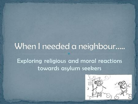 Exploring religious and moral reactions towards asylum seekers.