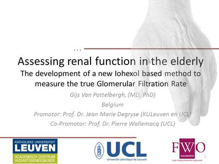... Assessing renal function in the elderly The development of a new Iohexol based method to measure the true Glomerular Filtration Rate Gijs Van Pottelbergh,
