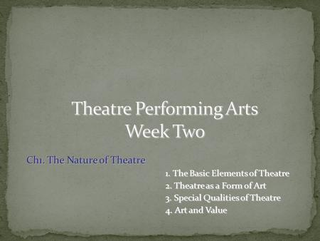 Ch1. The Nature of Theatre 1. The Basic Elements of Theatre 1. The Basic Elements of Theatre 2. Theatre as a Form of Art 2. Theatre as a Form of Art 3.