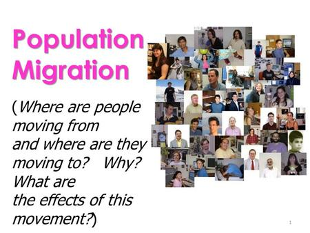 the effects on migration of people Human migration is the movement of people from one place in the world to another human patterns of movement reflect the conditions of a changing world and impact the cultural landscapes of both the places people leave and the places they settle.