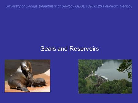 University of Georgia Department of Geology GEOL 4320/6320 Petroleum Geology Seals and Reservoirs.