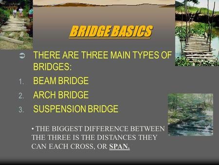 BRIDGE BASICS THERE ARE THREE MAIN TYPES OF BRIDGES: BEAM BRIDGE