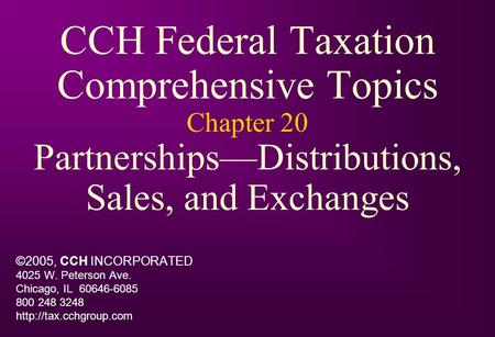 cch federal taxation comprehensive topics chapter 11 Results 1 - 13 of 13  readers learn how topics relate to one another  south-western federal  taxation 2019: comprehensive42nd  use effective end-of-chapter  reinforcement with optional  tax research practice with federal tax  research, 11e  tax research tools, such as thomson reuters checkpoint,  cch.
