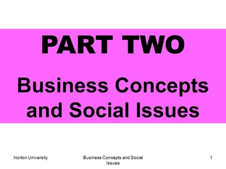 Norton UniversityBusiness Concepts and Social Issues 1 PART TWO Business Concepts and Social Issues.
