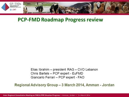 PCP-FMD Roadmap Progress review Regional Advisory Group – 3 March 2014, Amman - Jordan Elias Ibrahim – president RAG – CVO Lebanon Chris Bartels – PCP.