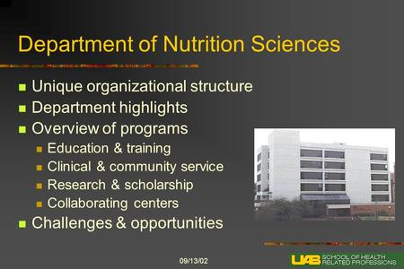 09/13/02 Department of Nutrition Sciences Unique organizational structure Department highlights Overview of programs Education & training Clinical & community.
