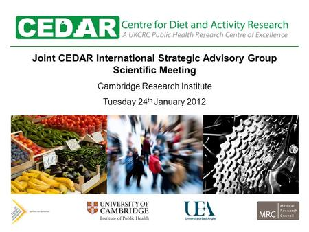 Joint CEDAR International Strategic Advisory Group Scientific Meeting Cambridge Research Institute Tuesday 24 th January 2012.