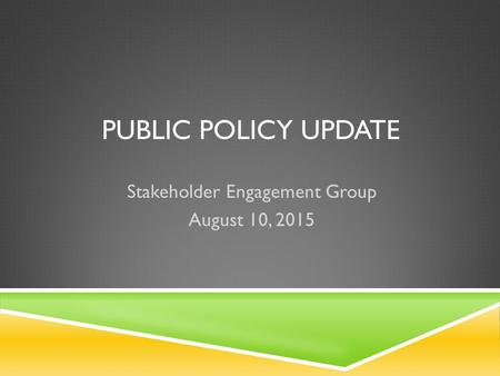 PUBLIC POLICY UPDATE Stakeholder Engagement Group August 10, 2015.