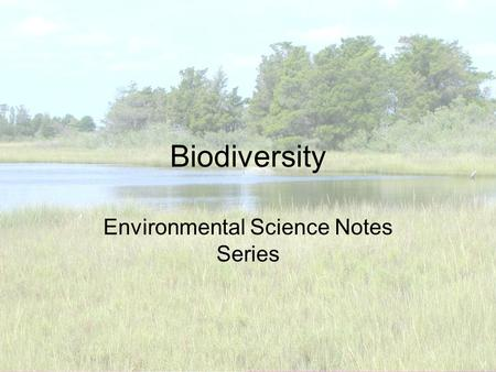 Biodiversity Environmental Science Notes Series. What is Biodiversity? Species Richness is another term for biodiversity Density is an important factor.