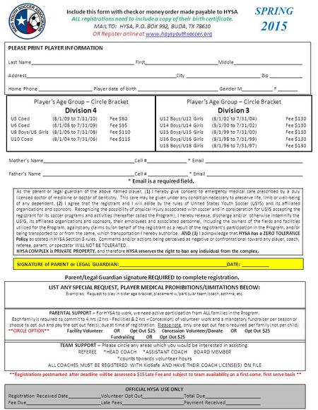 Application Form Please Fill Out This Form And Return It By Mail