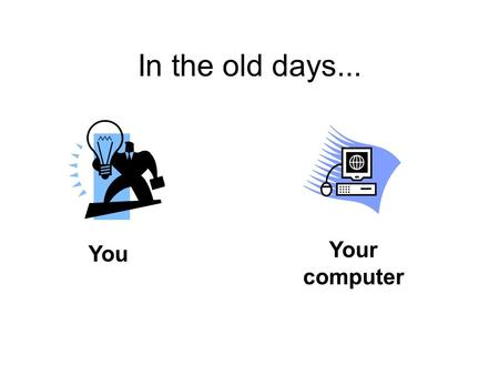 In the old days... You Your computer. Then came... The Network.