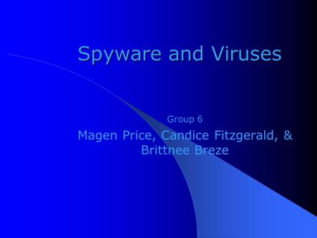 Spyware and Viruses Group 6 Magen Price, Candice Fitzgerald, & Brittnee Breze.