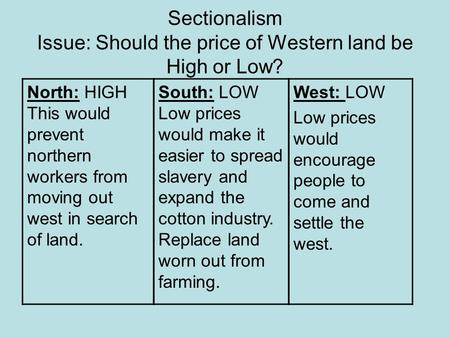 Sectionalism Issue: Should the price of Western land be High or Low? North: HIGH This would prevent northern workers from moving out west in search of.