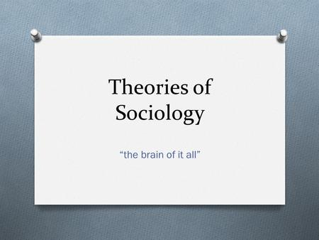 "Theories of Sociology ""the brain of it all""."