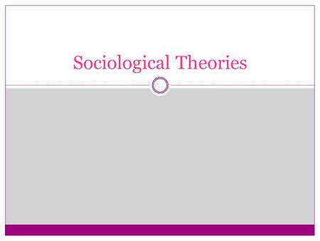 "Sociological Theories. A GENERAL STATEMENT ABOUT HOW PARTS OF THE WORLD FIT TOGETHER AND HOW THEY WORK AN EXPLANATION OF HOW TWO OR MORE ""FACTS"" ARE RELATED."