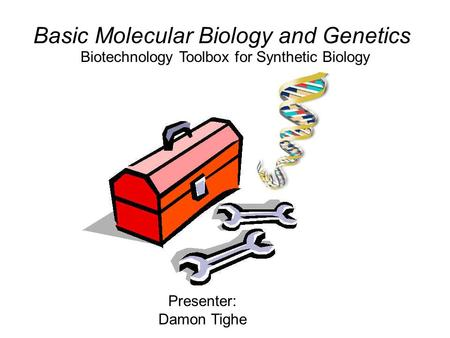 Biotechnology Toolbox for Synthetic Biology Basic Molecular Biology and Genetics Presenter: Damon Tighe.