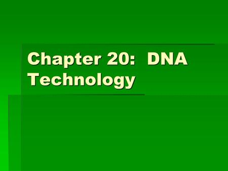Chapter 20: DNA Technology. Important Terminology:  Recombinant DNA: DNA in which nucleotide sequences from 2 different sources (can be from different.