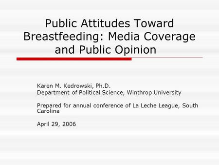 Public Attitudes Toward Breastfeeding: Media Coverage and Public Opinion Karen M. Kedrowski, Ph.D. Department of Political Science, Winthrop University.