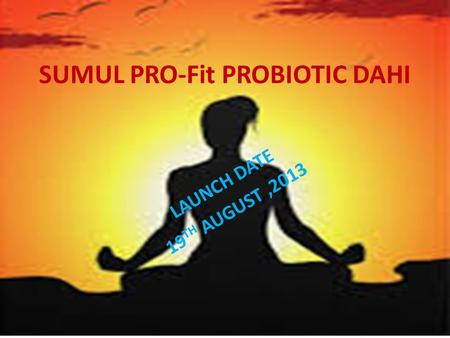 SUMUL PRO-Fit PROBIOTIC DAHI LAUNCH DATE 19 TH AUGUST,2013.