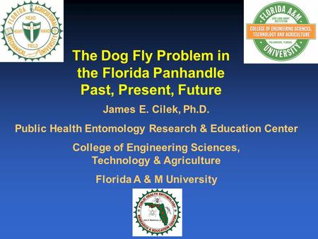 The Dog Fly Problem in the Florida Panhandle Past, Present, Future James E. Cilek, Ph.D. Public Health Entomology Research & Education Center College of.