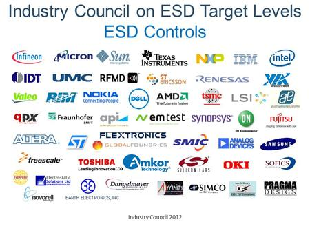 Industry Council 2012 Industry Council on ESD Target Levels ESD Controls.