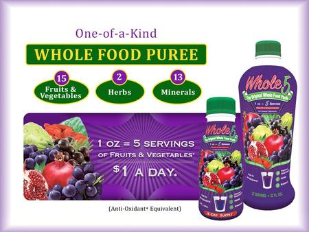 A WHOLE FOOD PUREE - NOT a juice! The CONVENIENCE of 5 Servings of Fruits & Vegetables* in every ounce & It TASTES GOOD so everyone enjoys drinking it,