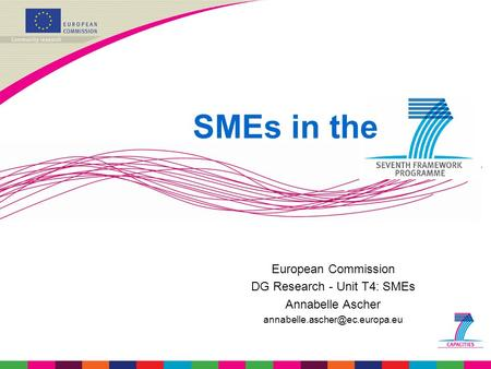 European Commission DG Research - Unit T4: SMEs Annabelle Ascher SMEs in the.