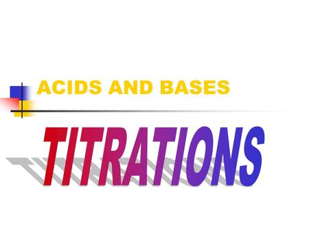 ACIDS AND BASES Acid Base Titration A very accurate method to measure concentration. Acid + Base  Salt + Water H + + OH -  H 2 O Moles H + = Moles.