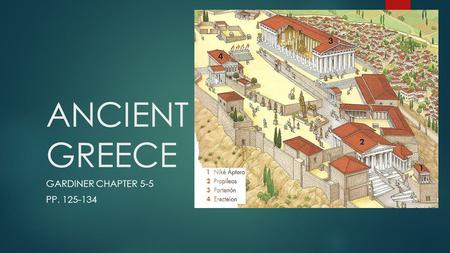 ANCIENT GREECE GARDINER CHAPTER 5-5 PP. 125-134. THE ATHENIAN ACROPOLIS  Under the leadership of Pericles the Athenians begin rebuilding the Acropolis.