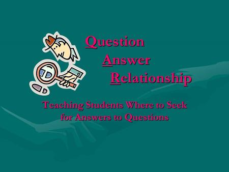 Question Answer Relationship Teaching Students Where to Seek for Answers to Questions.